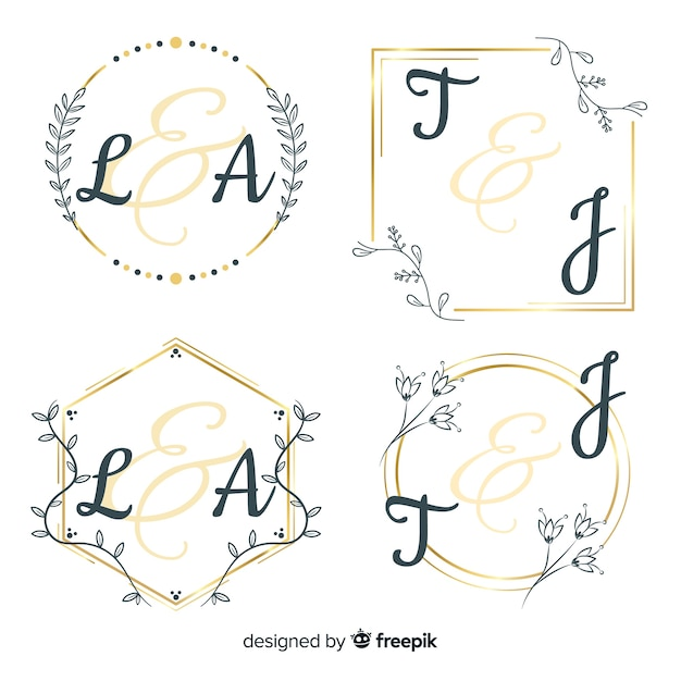 Bruiloft monogram logo sjabloon collectie Gratis Vector