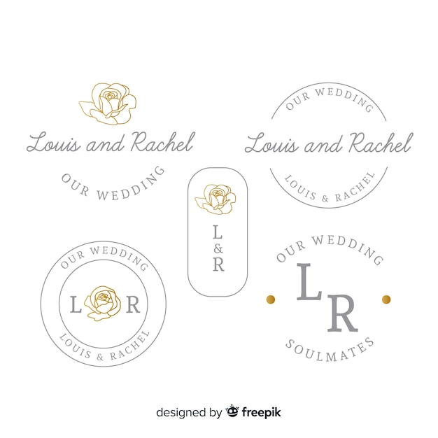 Bruiloft monogram logo sjabloon collectie Gratis Vector