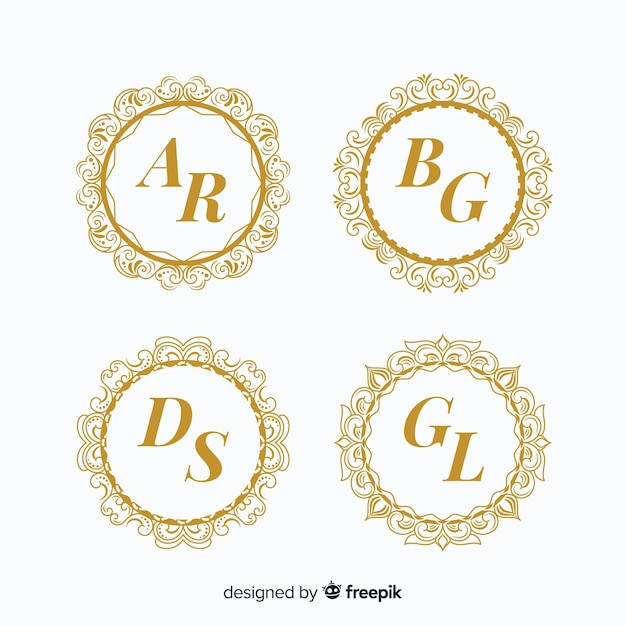 Bruiloft monogram logo templates-collectie Premium Vector