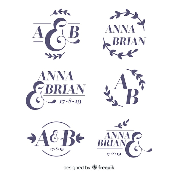 Bruiloft monogram logo templates-collectie Gratis Vector