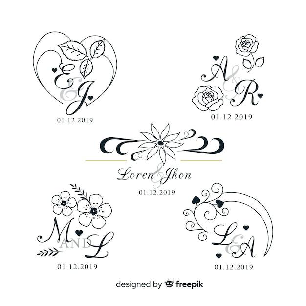 Bruiloft monogram logo templates-collectie Premium Vector