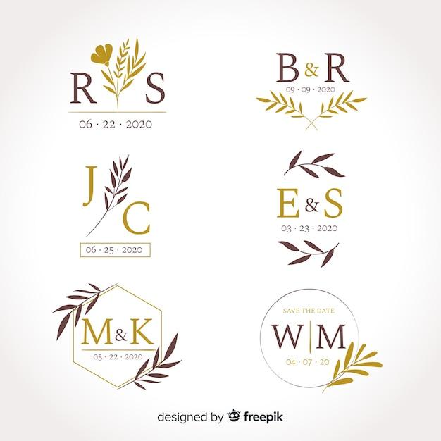 Bruiloft monogram logo templates-collectie Gratis Vector