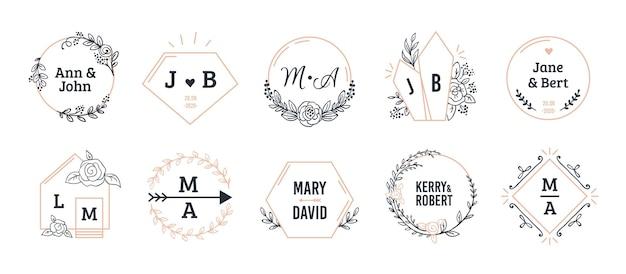 Bruiloft monogrammen. boheemse hand getrokken bloemen- en veelhoekige elementen. Premium Vector