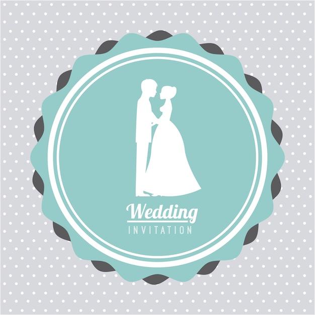 Bruiloft ontwerp over blauwe achtergrond vectorillustratie Premium Vector