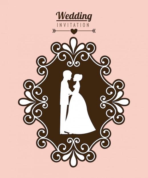 Bruiloft ontwerp over roze achtergrond vectorillustratie Premium Vector