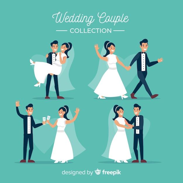 Bruiloft paar collectie Gratis Vector