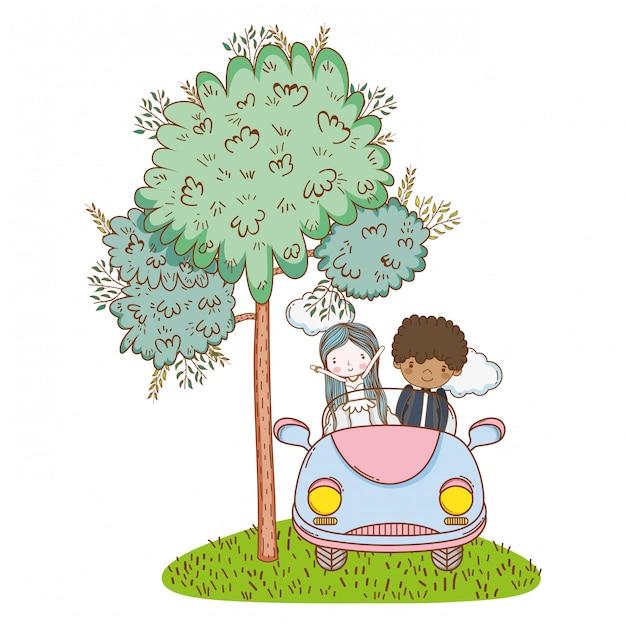 Bruiloft paar huwelijk cute cartoon Premium Vector
