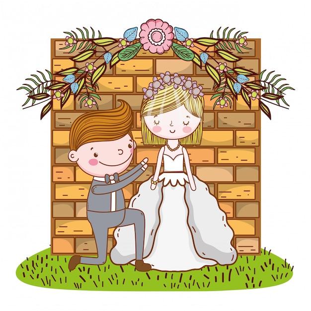 Bruiloft paar schattige cartoon Premium Vector