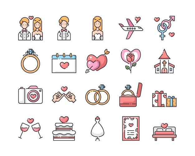 Bruiloft pictogrammen instellen Premium Vector