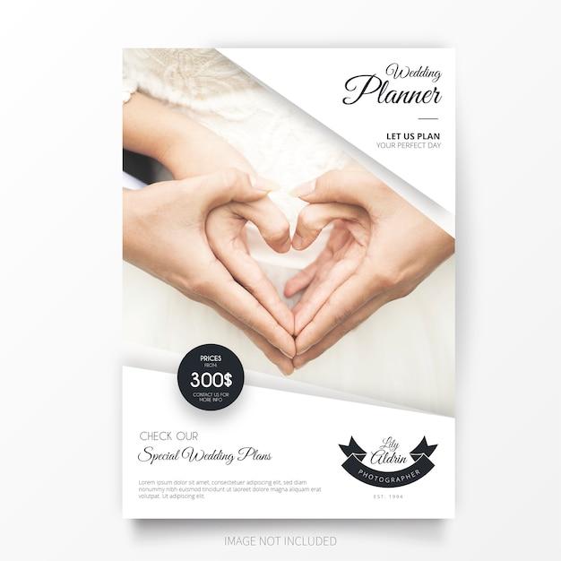 Bruiloft planner brochure template Gratis Vector