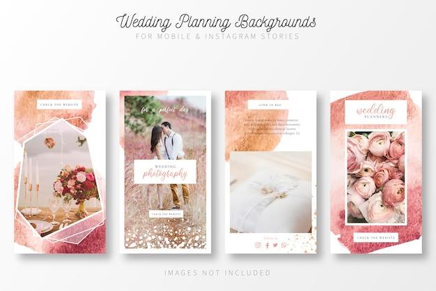 Bruiloft planning achtergrond voor insta verhalen Gratis Vector