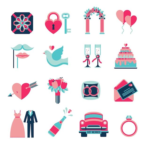 Bruiloft plat pictogrammen instellen Gratis Vector