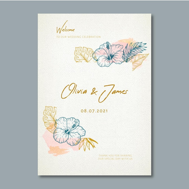 Bruiloft poster met florale versieringen Gratis Vector