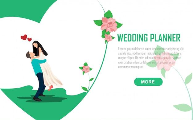 Bruiloft romantiek planner uitnodiging illustratie Premium Vector
