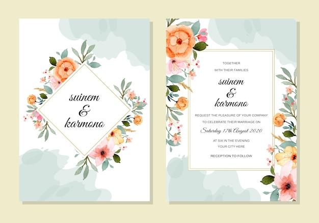 Bruiloft sjabloon met bloemen aquarel Premium Vector