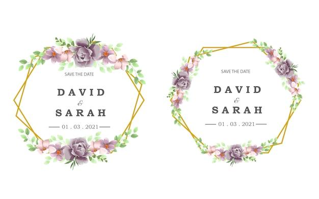 Bruiloft sjabloon met prachtige paarse bloem frame Premium Vector