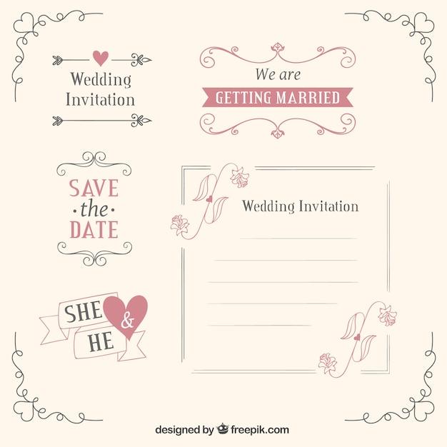 Bruiloft templates en decoratie Gratis Vector