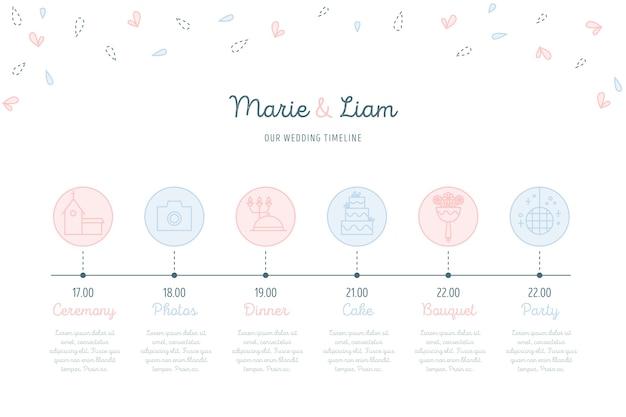 Bruiloft tijdlijn in lineaire stijl Gratis Vector