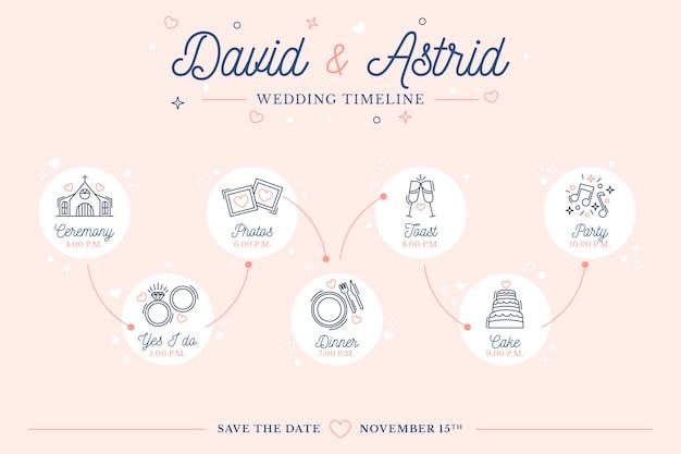 Bruiloft tijdlijn in lineaire stijlsjabloon Gratis Vector