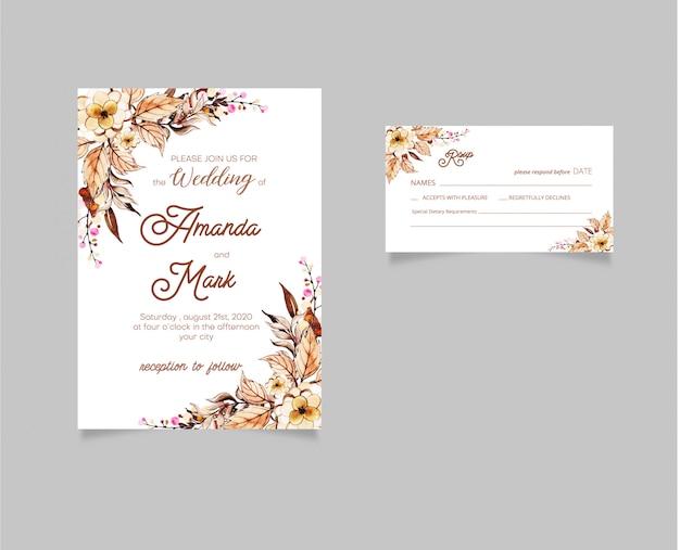 Bruiloft uitnodigen Premium Vector