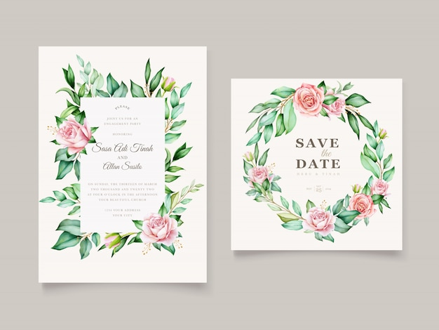 Bruiloft uitnodiging aquarel bloemen en bladeren kaartsjabloon Gratis Vector