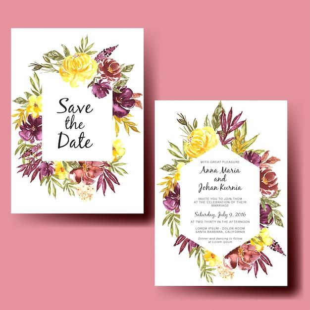 Bruiloft uitnodiging aquarel herfst bloemen los Premium Vector