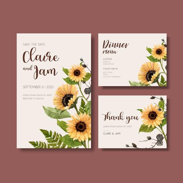 Bruiloft uitnodiging aquarel met mooie zonnebloem Gratis Vector