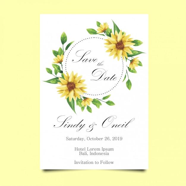Bruiloft uitnodiging blad en bloem stijl aquarel Premium Vector