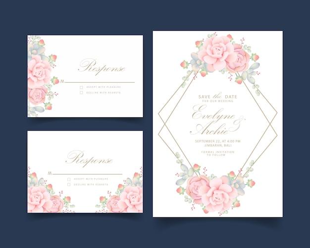 Bruiloft uitnodiging bloemen met vetplanten Premium Vector