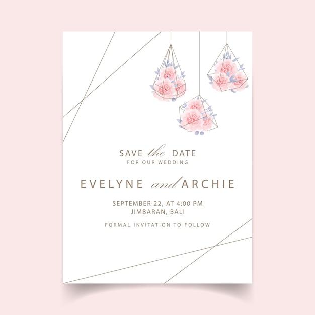 Bruiloft uitnodiging bloemen rozen Premium Vector
