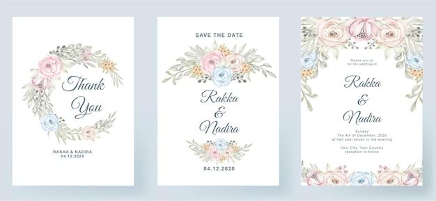 Bruiloft uitnodiging elegante eenvoudig eenvoudig met roze pastel kleur roze perzik blad aquarel decoratie Premium Vector
