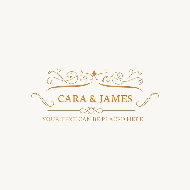 Bruiloft uitnodiging embleem Gratis Vector