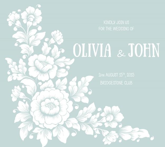 Bruiloft uitnodiging en aankondiging kaart met bloemmotief Gratis Vector