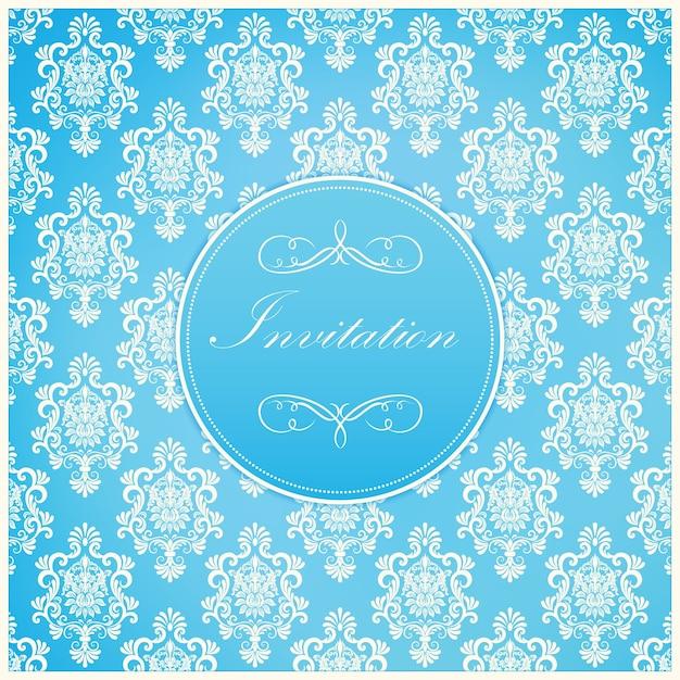 Bruiloft uitnodiging en aankondiging kaart met vintage achtergrond kunstwerk. elegante sierlijke damastachtergrond. elegant floral abstract ornament. ontwerp sjabloon. Gratis Vector