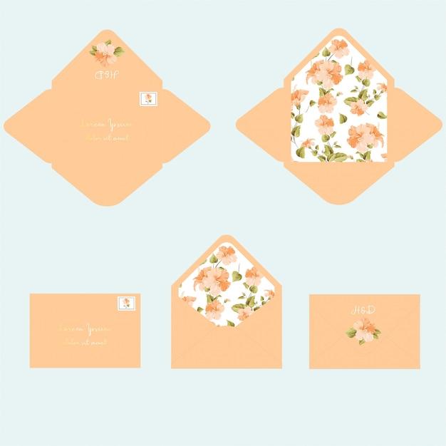 Bruiloft uitnodiging envelop sjabloon Premium Vector