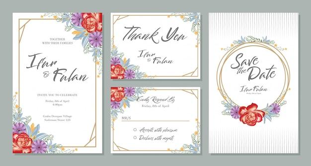 Bruiloft uitnodiging kaart ontwerp sets met bloemen Premium Vector