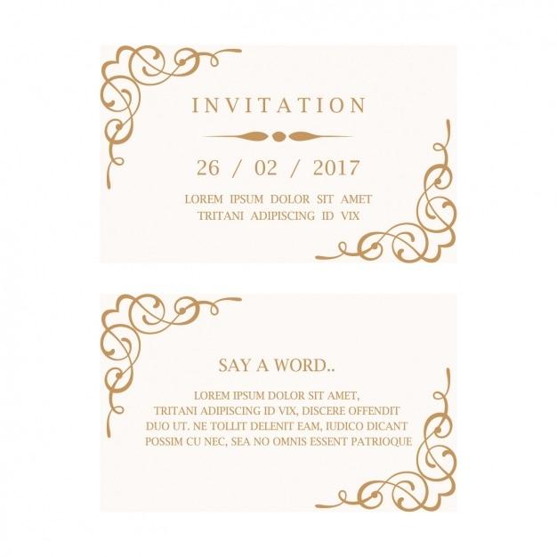 Bruiloft Uitnodiging Kaart Vector Gratis Download