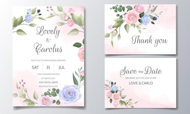 Bruiloft uitnodiging kaartenset sjabloon met mooie bloemen frame Premium Vector