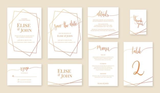 Bruiloft uitnodiging kaartenset. Premium Vector