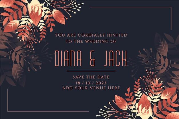 Bruiloft uitnodiging kaartsjabloon in bladeren stijl Gratis Vector