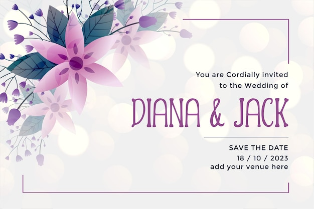 Bruiloft uitnodiging kaartsjabloon in bloemstijl Gratis Vector