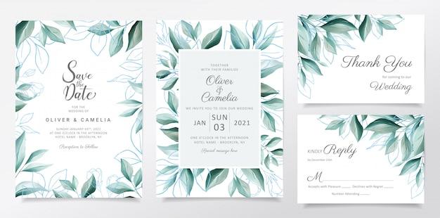 Bruiloft uitnodiging kaartsjabloon ingesteld met aquarel elegante bladeren grens Premium Vector