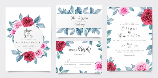 Bruiloft uitnodiging kaartsjabloon ingesteld met kastanjebruine en marine aquarel bloemen decoratie Premium Vector