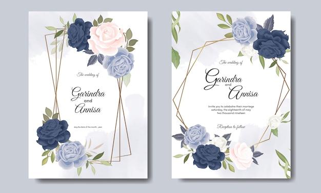 Bruiloft uitnodiging kaartsjabloon ingesteld met prachtige bloemen bladeren Premium Vector
