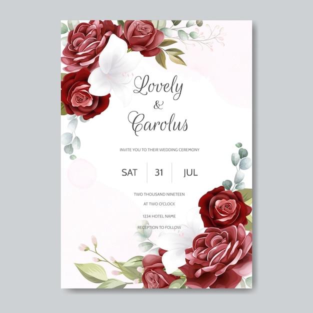 Bruiloft uitnodiging kaartsjabloon ingesteld met prachtige bloemenbladeren Premium Vector