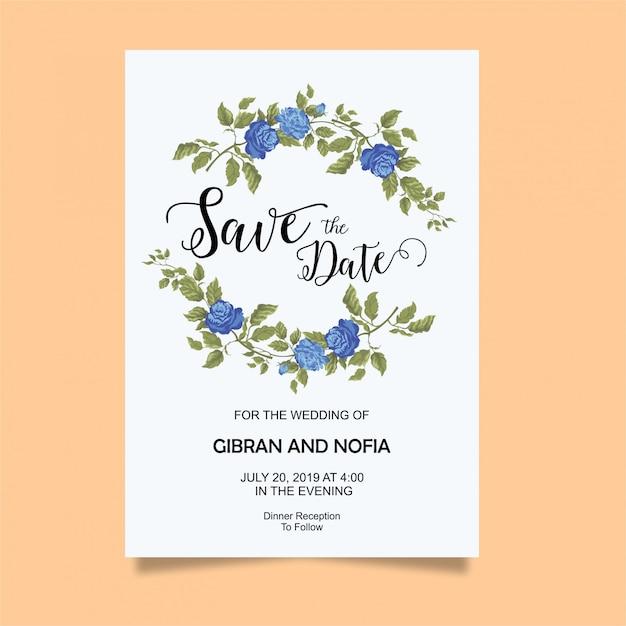 Bruiloft uitnodiging kaartsjabloon met blauwe rozen Premium Vector