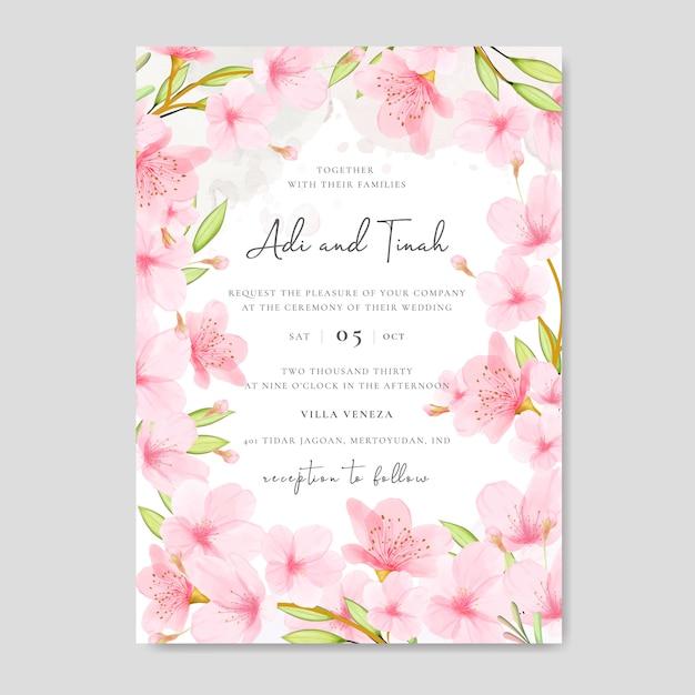Bruiloft uitnodiging kaartsjabloon met bloemen cherry blossom frame Premium Vector