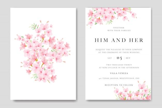 Bruiloft uitnodiging kaartsjabloon met bloemen cherry blossom ontwerp Premium Vector