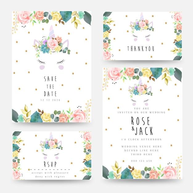 Bruiloft uitnodiging kaartsjabloon met eenhoorn en florale decoratie. bewaar de datum Premium Vector