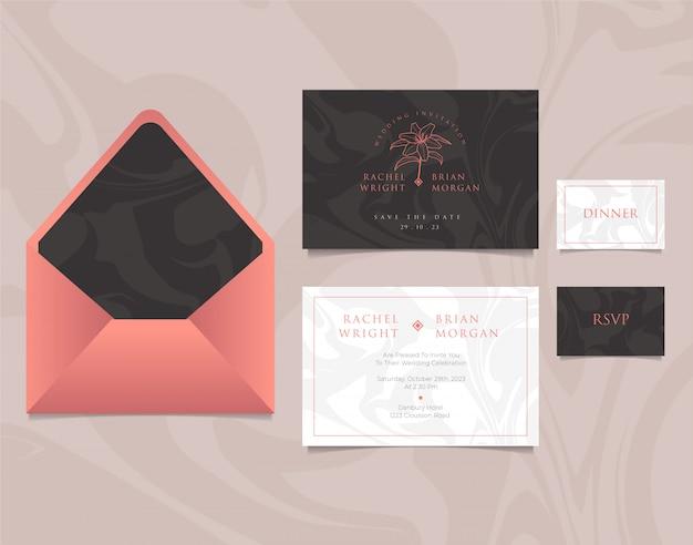 Bruiloft uitnodiging kaartsjabloon met envelop, elegant ontwerp op roze, zwarte en witte kleuren Premium Vector